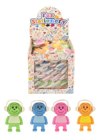 96 Smiley Monkey with headphone erasers