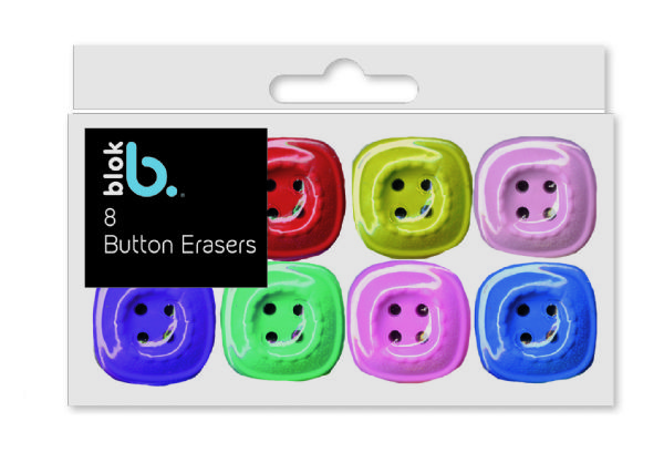 8 colourful button shaped erasers TO CLEAR