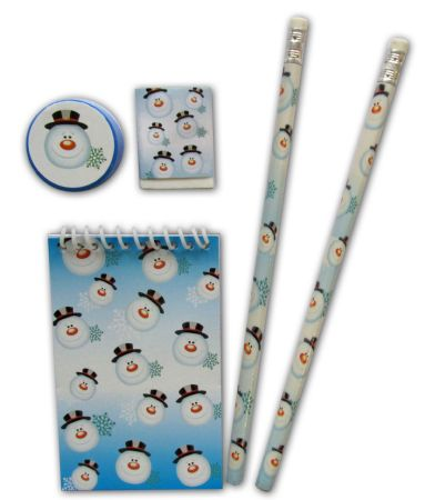 Christmas snowman stationery 5 pce set