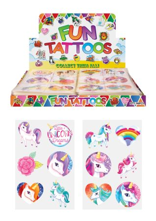 Display box of 96 sheets of unicorn tattoos