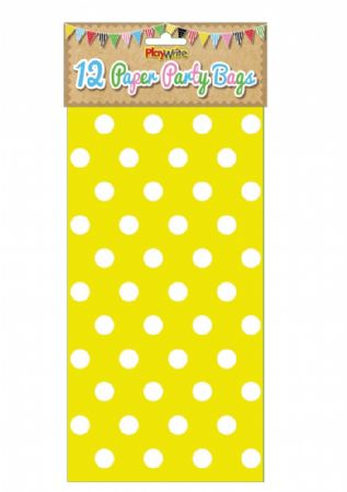 Pack of 12 Yellow polka dot paper bags