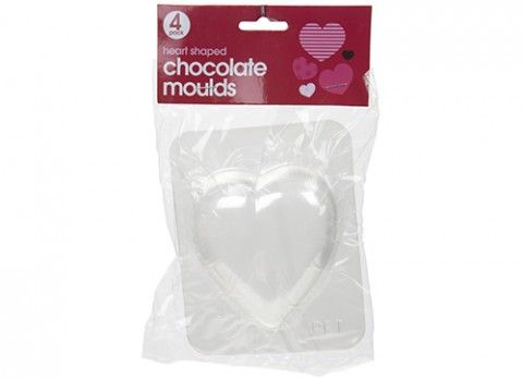 Pack of 4 heart shaped chocolate moulds on header card